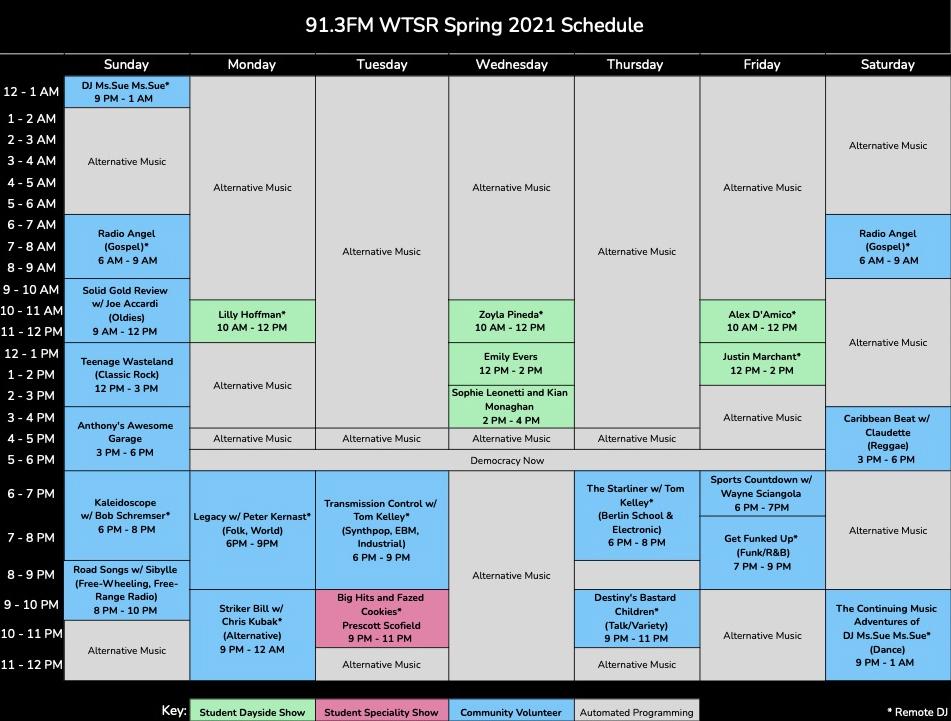 WTSR Spring 2021 Schedule