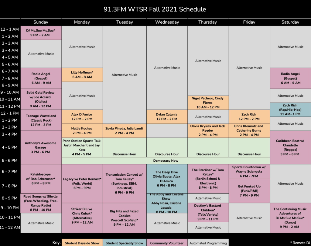 Fall 2021 WTSR Schedule